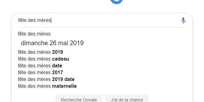 Recherche Google sur la fête des mères